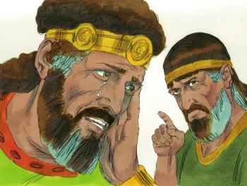 Image of Nathan confronting David regarding his sin with Bathsheba